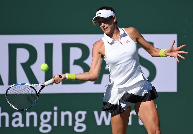 Mar 12, 2017; Indian Wells, CA, USA; Garbine Muguruza (ESP) during her third round match against Kayla Day (not pictured) in the BNP Paribas Open at the Indian Wells Tennis Garden. Mandatory Credit: Jayne Kamin-Oncea-USA TODAY Sports