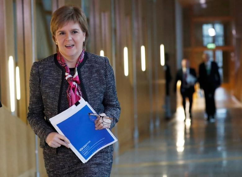 File Photo - Scotland's First Minister Nicola Sturgeon arrives to deliver a statement on Brexit during a session of Scotland's Parliament at Holyrood in Edinburgh, December 20, 2016. REUTERS/Russell Cheyne