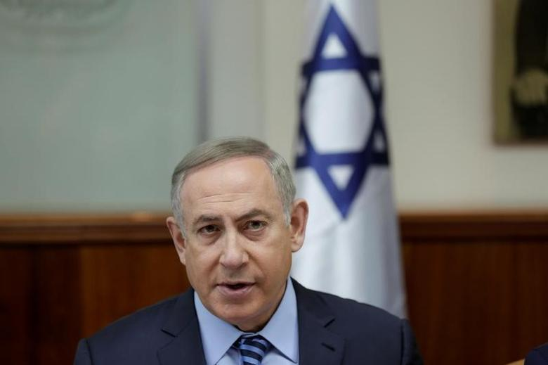 Israeli Prime Minister Benjamin Netanyahu attends the weekly cabinet meeting at his office in Jerusalem March 5, 2017. REUTERS/Abir Sultan/Pool
