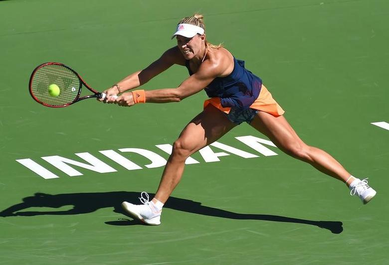Mar 13, 2017; Indian Wells, CA, USA; Angelique Kerber (GER) during her third round match against Pauline Parmentier (not pictured) in the BNP Paribas Open at the Indian Wells Tennis Garden. Mandatory Credit: Jayne Kamin-Oncea-USA TODAY Sports