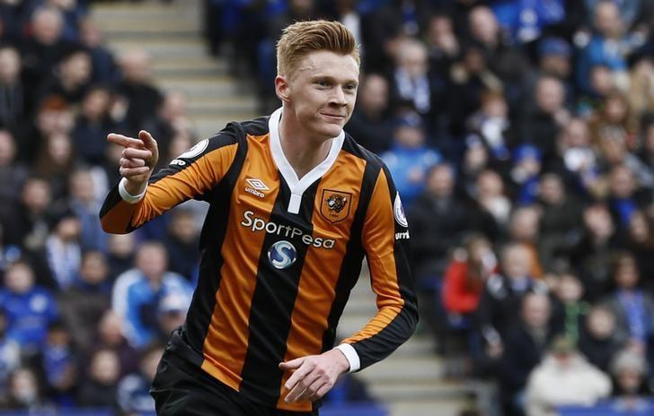 Britain Soccer Football - Leicester City v Hull City - Premier League - King Power Stadium - 4/3/17 Hull City's Sam Clucas celebrates scoring their first goal  Reuters / Stefan Wermuth Livepic/Files