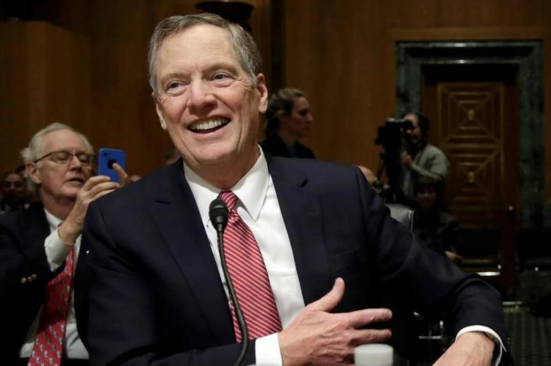 Robert Lighthizer smiles before a Senate Finance Committee confirmation hearing on his nomination to be U.S. trade representative on Capitol Hill in Washington, U.S., March 14, 2017. REUTERS/Yuri Gripas
