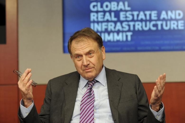 Richard LeFrak, President and CEO of LeFrak Organization, answers questions from a reporter during the Reuters Global Real Estate and Infrastructure Summit in New York, June 14, 2010.    REUTERS/Keith Bedford