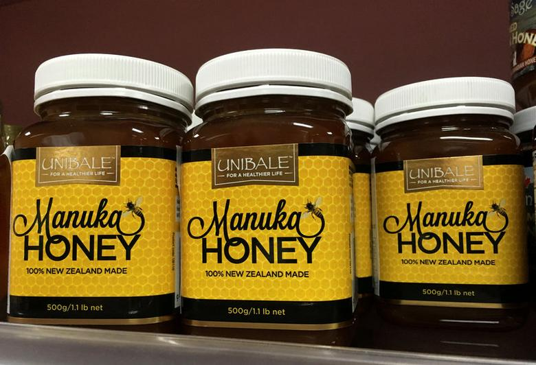 FILE PHOTO: Manuka honey products are seen at a supermarket in Beijing, China, August 23, 2016. REUTERS/Thomas Peter/File Photo