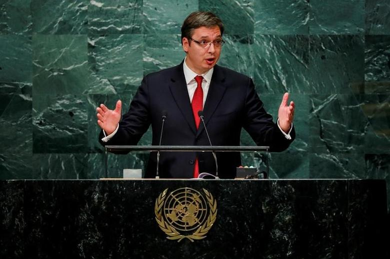Serbia's Prime Minister Aleksandar Vucic addresses the United Nations General Assembly in the Manhattan borough of New York, U.S., September 22, 2016.  REUTERS/Eduardo Munoz