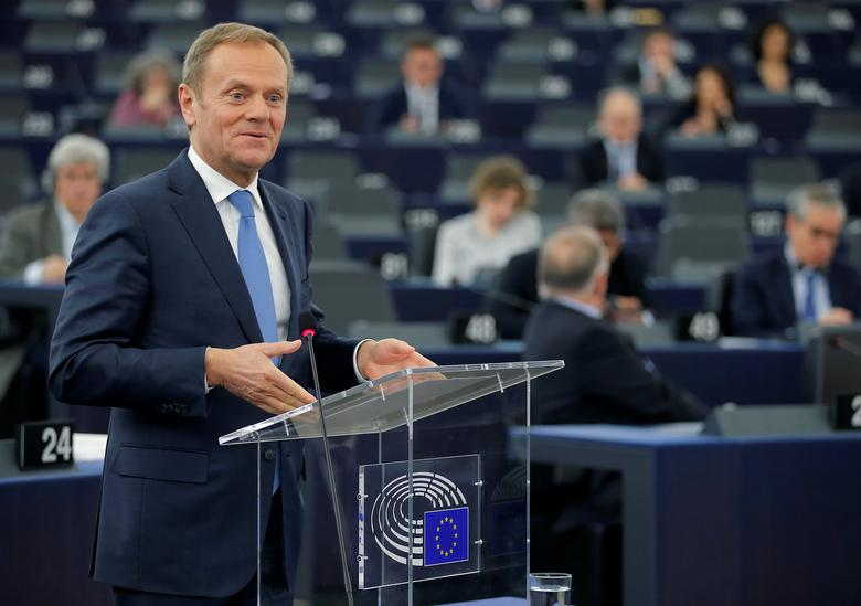 European Council President Donald Tusk delivers a speech during a debate on the future of the E.U. to mark the upcoming 60th anniversary of the Treaty of Rome at the European Parliament in Strasbourg, France, March 15, 2017.      REUTERS/Vincent Kessler