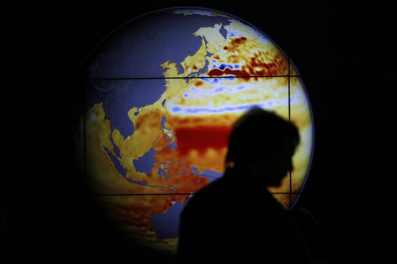 A woman walks past a map showing the elevation of the sea in the last 22 years during the World Climate Change Conference 2015 (COP21) at Le Bourget, near Paris, France, December 11, 2015.  REUTERS/Stephane Mahe/Files
