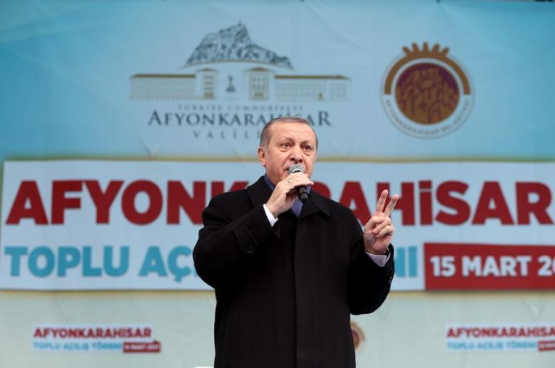 Turkish President Tayyip Erdogan addresses his supporters during a ceremony in Afyonkarahisar, Turkey March 15, 2017. Murat Cetinmuhurdar/Presidential Palace/Handout via REUTERS