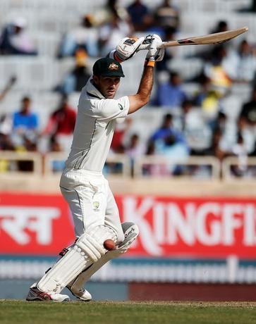 Cricket - India v Australia - Third Test cricket match - Jharkhand State Cricket Association Stadium, Ranchi, India - 16/03/17 - Australia's Glenn Maxwell plays a shot. REUTERS/Adnan Abidi