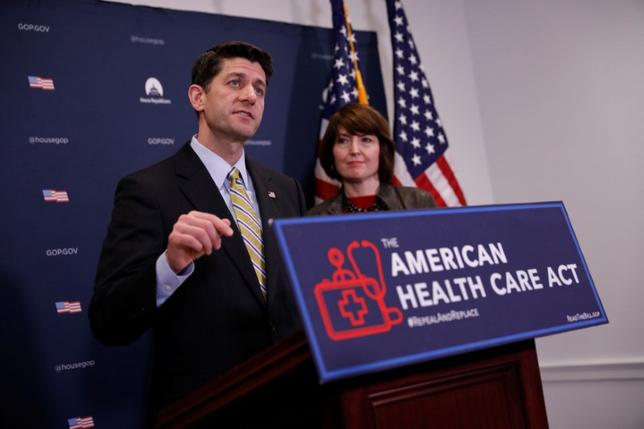 U.S. Speaker of the House Paul Ryan speaks to the media about the American Health Care Act at the Capitol in Washington, D.C., U.S. March 15, 2017.  REUTERS/Aaron P. Bernstein