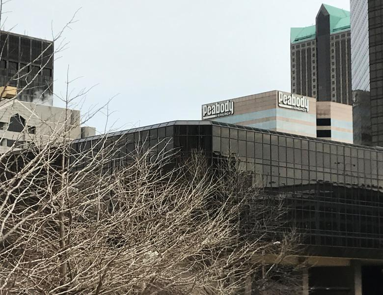 Peabody's St. Louis headquarters seen from the steps of the Thomas F. Eagleton U.S. Courthouse, where a hearing on the coal producer's plan to exit its Chapter 11 bankruptcy was held in St. Louis, Missouri, U.S., March 16, 2017.  REUTERS/Tracy Rucinski