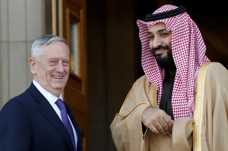 U.S. Defense Secretary James Mattis (L) welcomes Saudi Arabia's Deputy Crown Prince and Minister of Defense Mohammed bin Salman at the Pentagon in Washington, U.S., March 16, 2017. REUTERS/Yuri Gripas