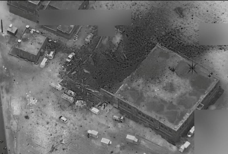 A post-strike photo of the site which the Pentagon says is of an al Qaeda senior leader meeting in al-Jinah, Syria, that U.S. stuck on March 16 is shown in this image released by Pentagon in Washington, DC, U.S. on March 17, 2017.    Courtesy U.S. Navy/Handout via REUTERS