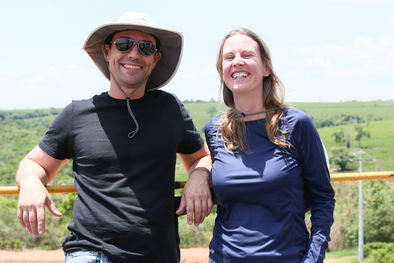 Paulo Siqueira and Juliana Armelin, finance professionals who became coffee farmers, pose for a picture at Terra Alta farm in Ibia, Minas Gerais state, Brazil, in this October 18, 2016 handout picture.  Courtesy of Terra Alta farm/Handout via REUTERS