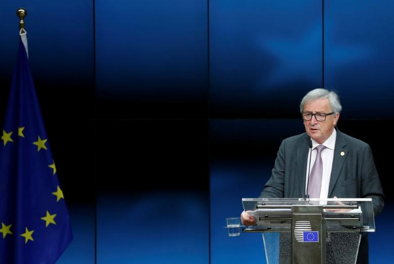 European Commission President Jean-Claude Juncker addresses a news conference during a European Union leaders summit in Brussels, Belgium March 10, 2017. REUTERS/Francois Lenoir