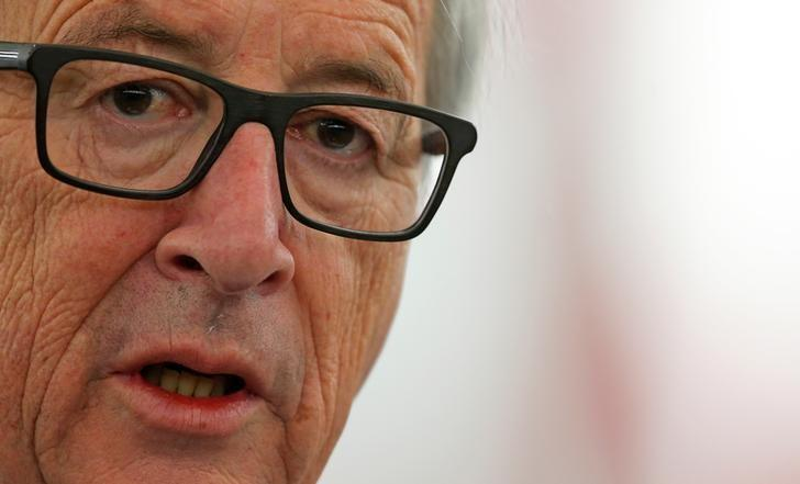 European Commission President Jean-Claude Juncker delivers a speech during a debate on the future of the E.U. to mark the upcoming 60th anniversary of the Treaty of Rome at the European Parliament in Strasbourg, France, March 15, 2017.     REUTERS/Vincent Kessler