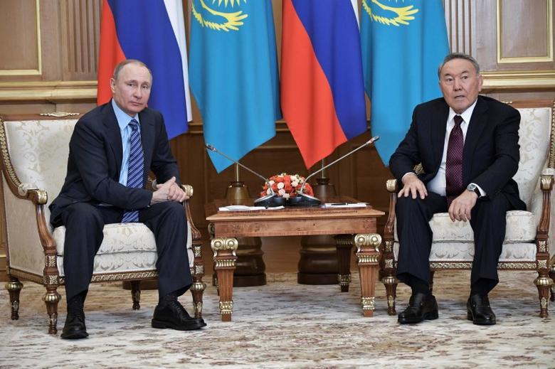 File photo: Russia's President Vladimir Putin meets with Kazakh President Nursultan Nazarbayev in Almaty, Kazakhstan,  February 27, 2017. Sputnik/Alexei Nikolsky/Kremlin via REUTERS