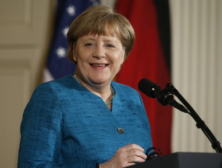 German Chancellor Angela Merkel smiles during a joint news conference with U.S. President Donald Trump (not pictured) in the East Room of the White House in Washington, U.S., March 17, 2017. REUTERS/Joshua Roberts