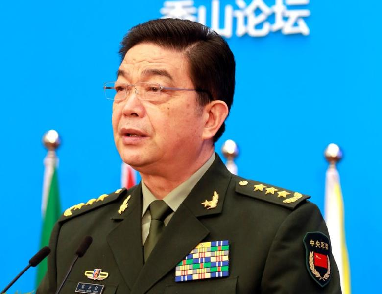 FILE PHOTO: Chinese Defence Minister Chang Wanquan speaks at the Xiangshan Forum, in Beijing, China, October 11, 2016. China Daily/via REUTERS