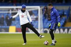 Chelsea's Diego Costa and Thibaut Courtois before the match. Chelsea v Brentford - FA Cup Fourth Round - Stamford Bridge - 28/1/17. Reuters / Paul Childs