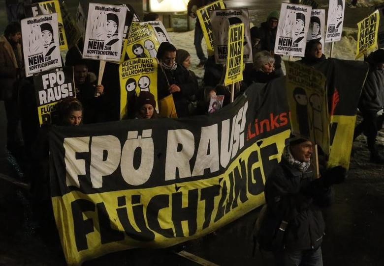 Protesters march as they demonstrate against Austrian Freedom Party's (FPOe) Akademikerball ball in Vienna, Austria,February 3, 2016. REUTERS/Heinz-Peter Bader