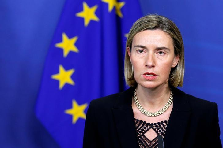 European Union foreign policy chief Federica Mogherini addresses a joint news conference with Libya's Prime Minister Fayez al-Sarraj (unseen) at the EU Commission headquarters in Brussels, Belgium February 2, 2017.   REUTERS/Francois Lenoir