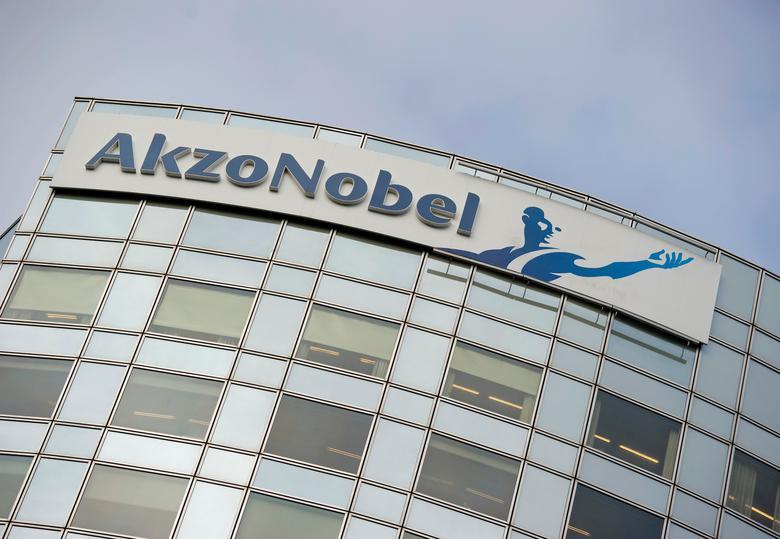 FILE PHOTO:  AkzoNobel's logo is seen in Amsterdam, Netherlands, February 16, 2012.    REUTERS/Robin van Lonkhuijsen/United Photos/File Photo