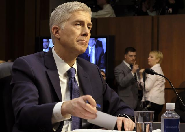 Supreme Court nominee judge Neil Gorsuch attends his Senate Judiciary Committee confirmation hearing on Capitol Hill in Washington, U.S., March 20, 2017. REUTERS/James Lawler Duggan