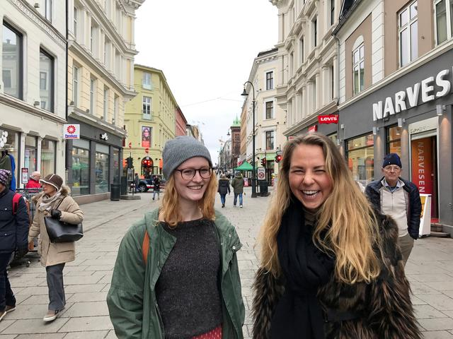 Karen Nerbo (L) and Kristina Davidsen pose for a picture in Oslo, Norway March 20, 2017. ''We have a lot of things to be happy about, our society is very open, we have everything that we need, there is not much to complain about,'' said Nerbo. REUTERS/Lefteris Karagiannopoulos