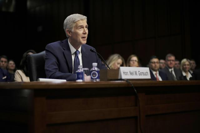U.S. Supreme Court nominee judge Neil Gorsuch speaks at his Senate Judiciary Committee confirmation hearing on Capitol Hill in Washington, U.S., March 20, 2017. REUTERS/James Lawler Duggan