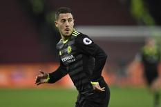 Britain Football Soccer - West Ham United v Chelsea - Premier League - London Stadium - 6/3/17 Chelsea's Eden Hazard celebrates scoring their first goal  Action Images via Reuters / Tony O'Brien Livepic