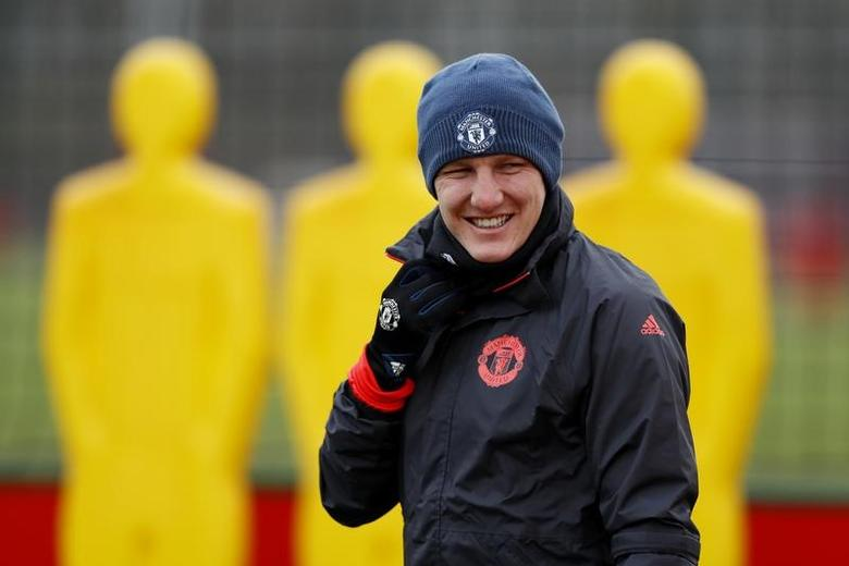 Britain Football Soccer - Manchester United Training - Manchester United Training Ground - 15/2/17 Manchester United's Bastian Schweinsteiger during training Action Images via Reuters / Jason Cairnduff Livepic