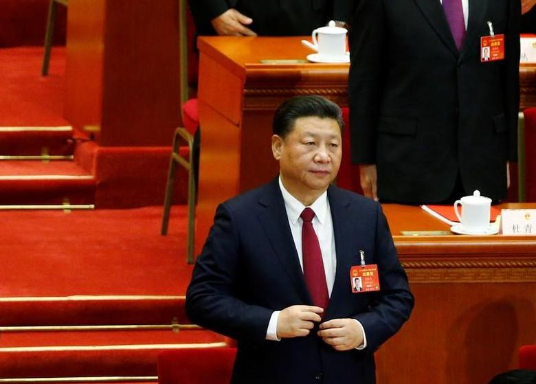 China's President Xi Jinping attends the closing session of China's National People's Congress (NPC) at the Great Hall of the People in Beijing, China, March 15, 2017. REUTERS/Thomas Peter