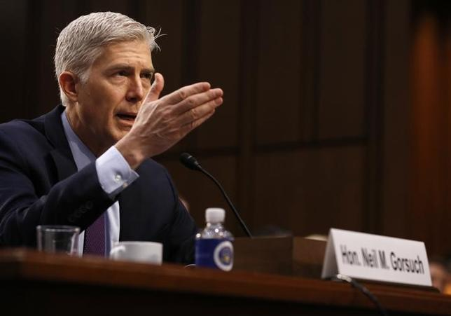 U.S. Supreme Court nominee judge Neil Gorsuch testifies before a Senate Judiciary Committee confirmation hearing on Capitol HIll in Washington, U.S., March 21, 2017.