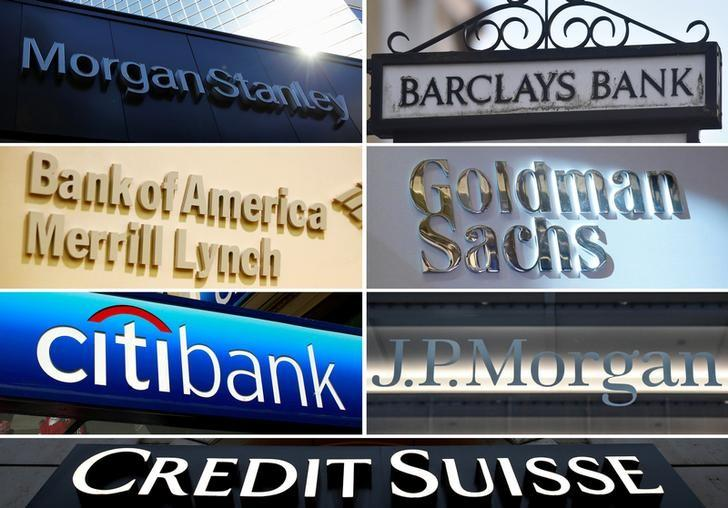 资料图片:摩根士丹利、巴克莱、美银、高盛、花旗、摩根大通和瑞士信贷的企业标识拼图。