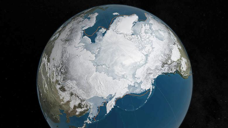 An undated NASA illustration shows Arctic sea ice at a record low wintertime maximum extent for the second straight year, according to scientists at the NASA-supported National Snow and Ice Data Center (NSIDC) and NASA. NASA/Goddard's Scientific Visualization Studio/C. Starr/Handout via Reuters/Files