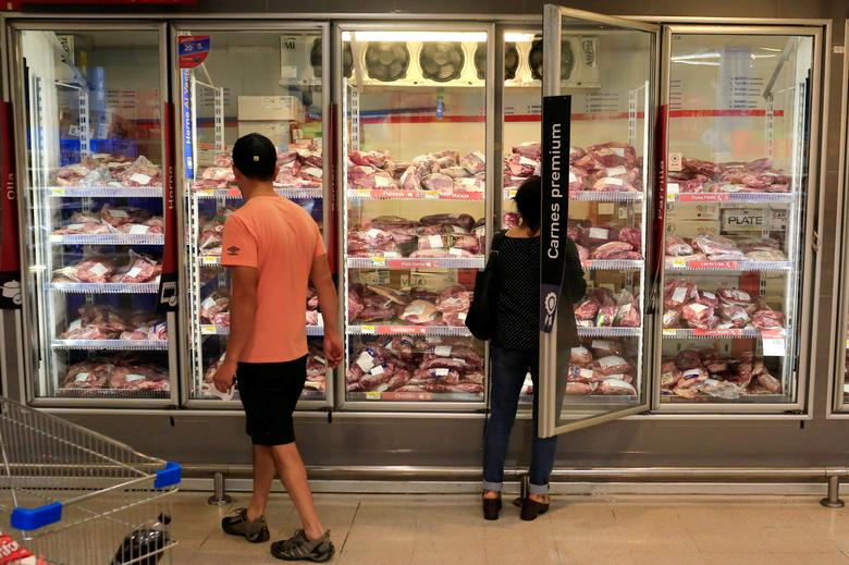 Beef is seen for sale at a supermarket after the Chilean government suspended all meat and poultry imports from Brazil, in Santiago, Chile March 22, 2017. REUTERS/Pablo Sanhueza