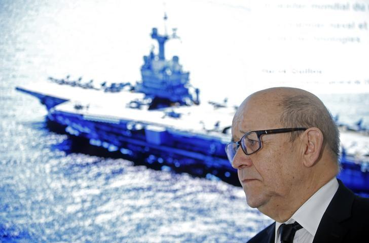French Defence Minister Jean-Yves Le Drian attends the inauguration of the site of the naval defence company and shipbuilder DCNS in Ollioules, France, February 23, 2017. REUTERS/Jean-Paul Pelissier/File Photo
