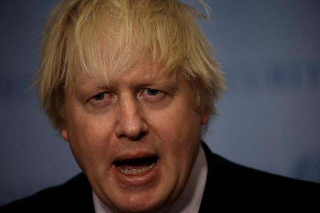 British Foreign Secretary Boris Johnson speaks to reporters after chairing a United Nations Security Council meeting at U.N. headquarters in New York City, New York, U.S., March 23, 2017. REUTERS/Mike Segar