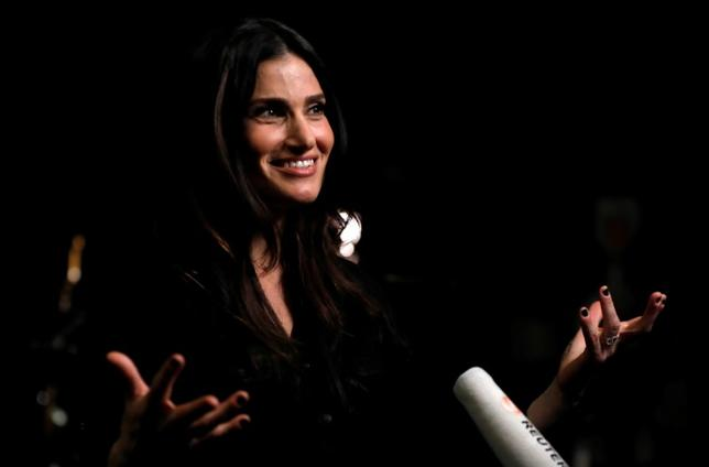 Recording artist Idina Menzel is interviewed during a break from rehearsing ahead of her world tour in a recording studio in Burbank, California U.S., March 17, 2017.   REUTERS/Mario Anzuoni
