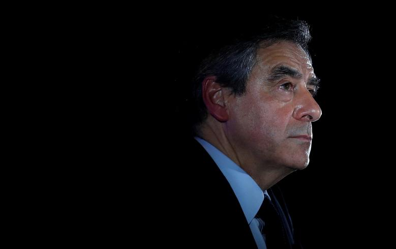 FILE PHOTO: Francois Fillon, former French prime minister, member of the Republicans political party and 2017 presidential election candidate of the French centre-right, attends a campaign rally in Maisons-Alfort, near Paris, France, February 24, 2017. REUTERS/Christian Hartmann