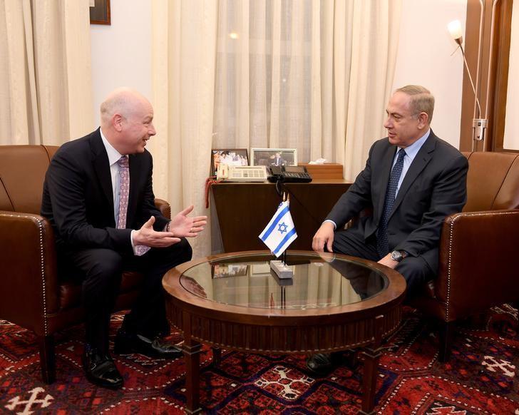 Jason Greenblatt (L), U.S. President Donald Trump's Middle East envoy meets Israeli Prime Minister Benjamin Netanyahu at the Prime Minister's Office in Jerusalem March 13, 2017. Courtesy Matty Stern/U.S. Embassy Tel Aviv/Handout via REUTERS