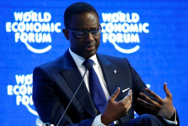 Tidjane Thiam, Chief Executive Officer of Swiss bank Credit Suisse attends the session ''The Global Economic Outlook'' during the annual meeting of the World Economic Forum (WEF) in Davos, Switzerland January 23, 2016. REUTERS/Ruben Sprich/File Photo