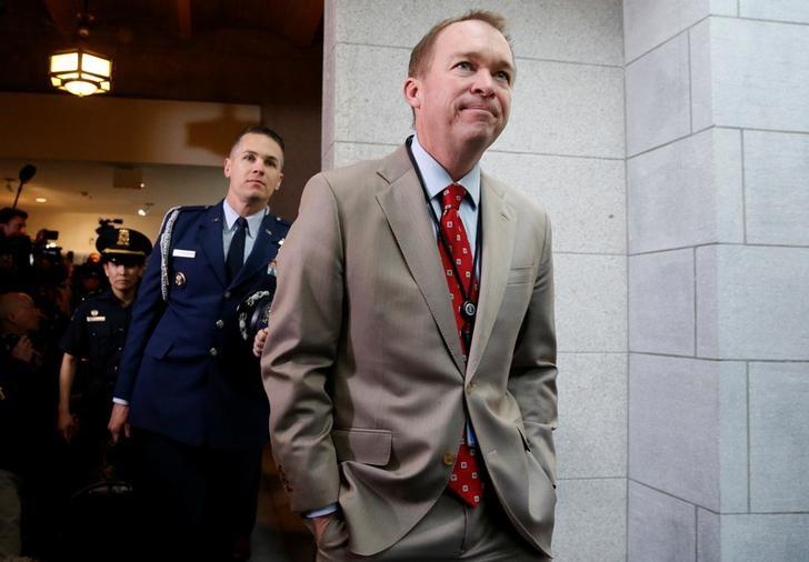 U.S. Office of Management and Budget (OMB) Director Mick Mulvaney arrives with President Donald Trump to meet with congressional Republicans at the U.S. Capitol in Washington, U.S. March 21, 2017.  REUTERS/Jonathan Ernst