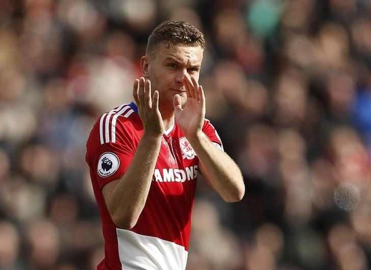 Britain Soccer Football - Middlesbrough v Manchester United - Premier League - The Riverside Stadium - 19/3/17 Middlesbrough's Ben Gibson applauds fans after the game  Action Images via Reuters / Lee Smith Livepic/files