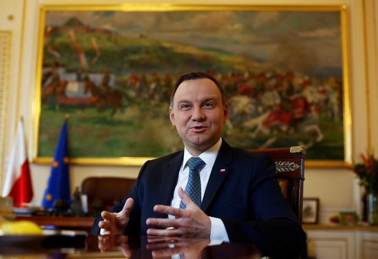 Poland's President Andrzej Duda speaks during interview with Reuters at the Presidential Palace in Warsaw, Poland March 22, 2017. Picture taken on March 22, 2017. REUTERS/Kacper Pempel