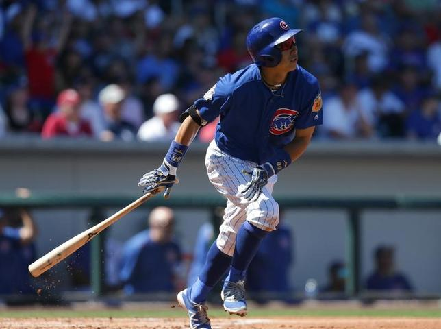 3月24日、MLBのオープン戦、カブスの川崎宗則内野手はインディアンス戦に7番・遊撃で先発。2回に三塁打を放つなど3打数1安打だった(2017年 ロイター/Rick Scuteri-USA TODAY Sports)