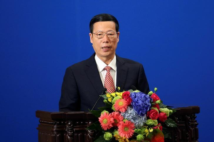 FILE PHOTO: Chinese Vice-Premier Zhang Gaoli makes a speech during the Philippines - China Trade and Investment Forum at the Great Hall of the People in Beijing, China, October 20, 2016. REUTERS/ Wu Hong/ Pool