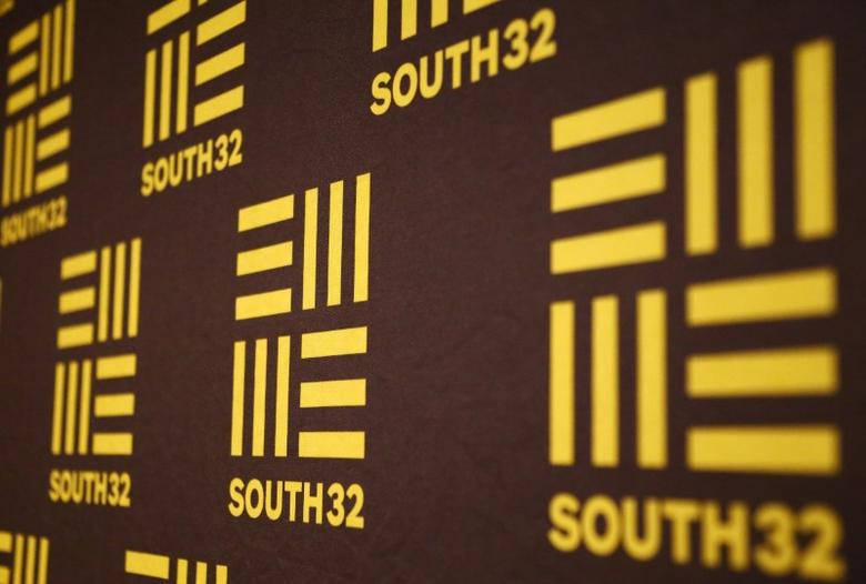 The logo of Australian miner South32 can be seen at the venue of a media conference in Perth, Western Australia, November 18, 2015.    REUTERS/David Gray/File Photo