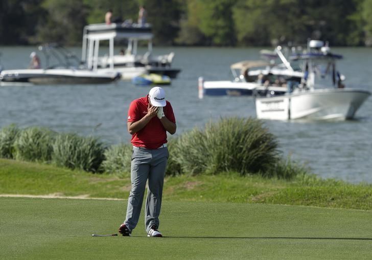 Mar 26, 2017; Austin, TX, USA; Jon Rahm of Spain lost to Dustin Johnson of the United States in the final round of the World Golf Classic - Dell Match Play golf tournament  at Austin Country Club. Mandatory Credit: Erich Schlegel-USA TODAY Sports